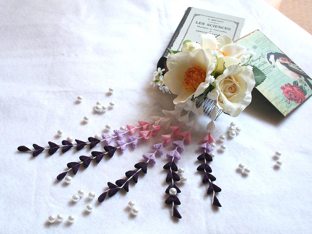 パープル系の下がりが入った粋な髪飾り(コーム):HA034