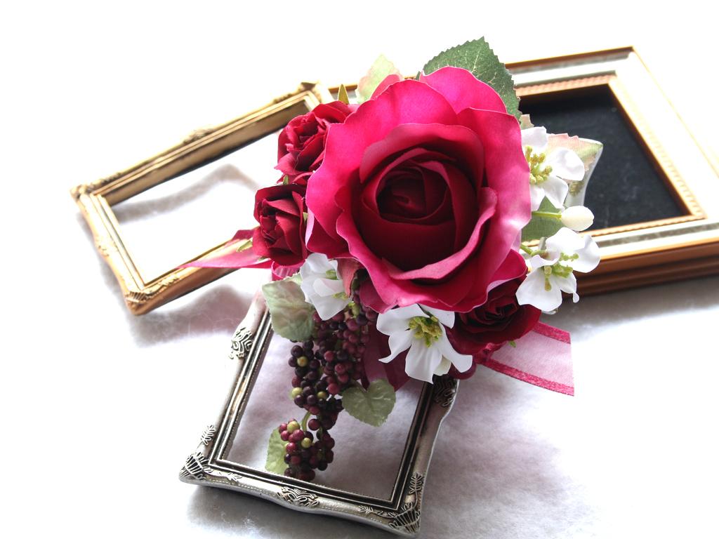 赤ワイン色のバラのコサージュ:CS016