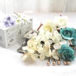 ターコイズバラと白小花のパーツ髪飾り