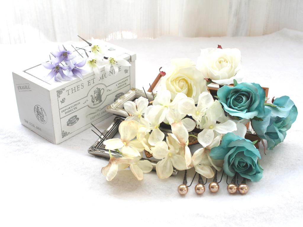 ターコイズバラと白小花のパーツ髪飾り:HA001