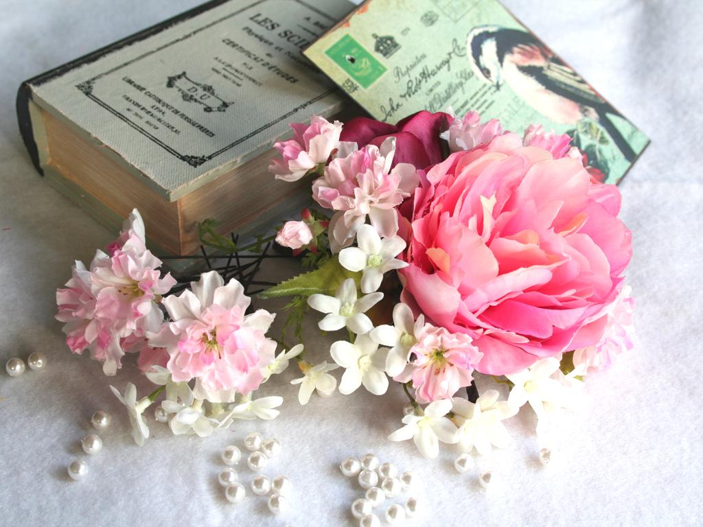 ピオニーと桜のパーツセットの髪飾り