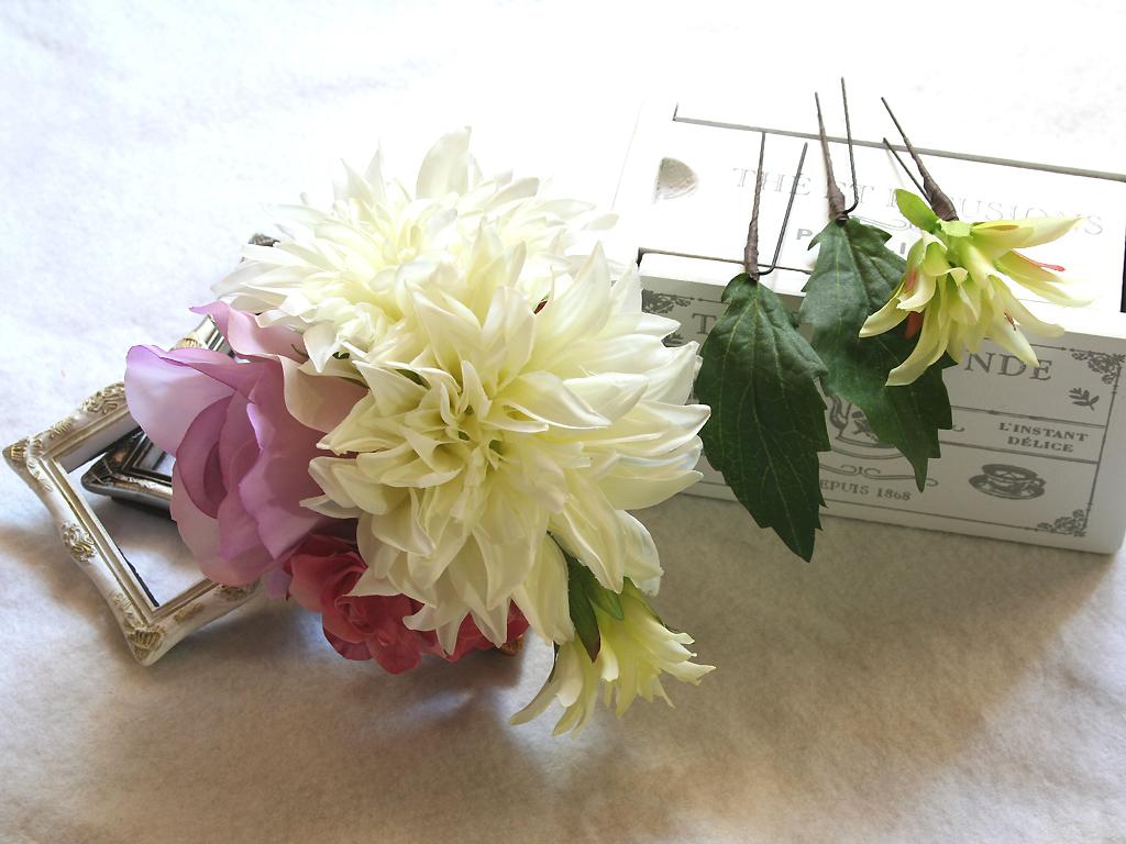 ヘッドドレス(髪飾り)ダリアとバラのパーツセット(Uピン)