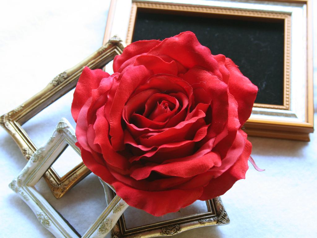 バラ大輪一輪のみの髪飾り:HA062