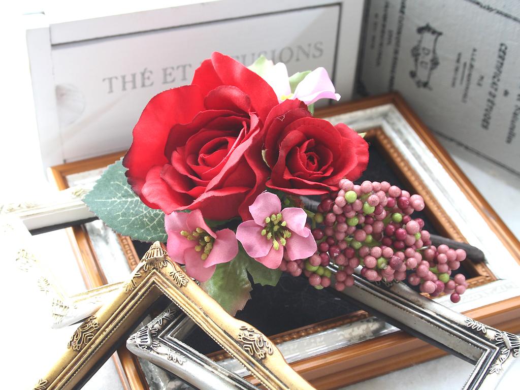 赤バラの髪飾り