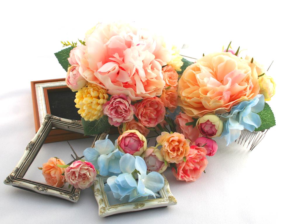 髪飾り(ヘッドドレス) ピオニーとバラのパーツセット