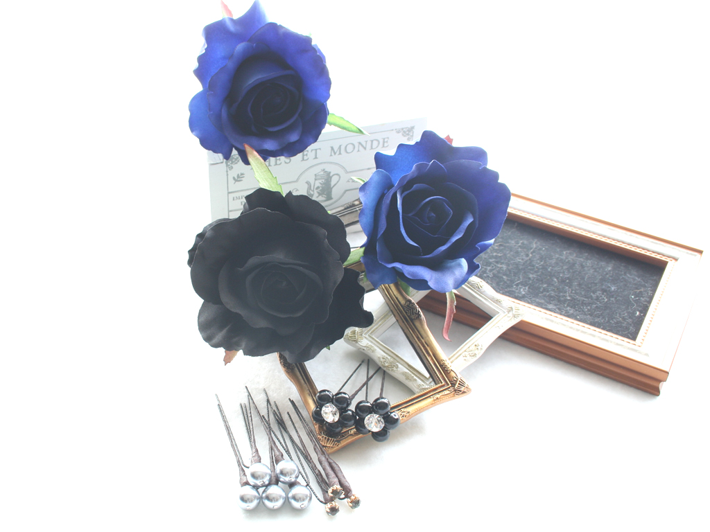 ブルー系バラとパール・ビジューのパーツセット(13パーツ):HA095